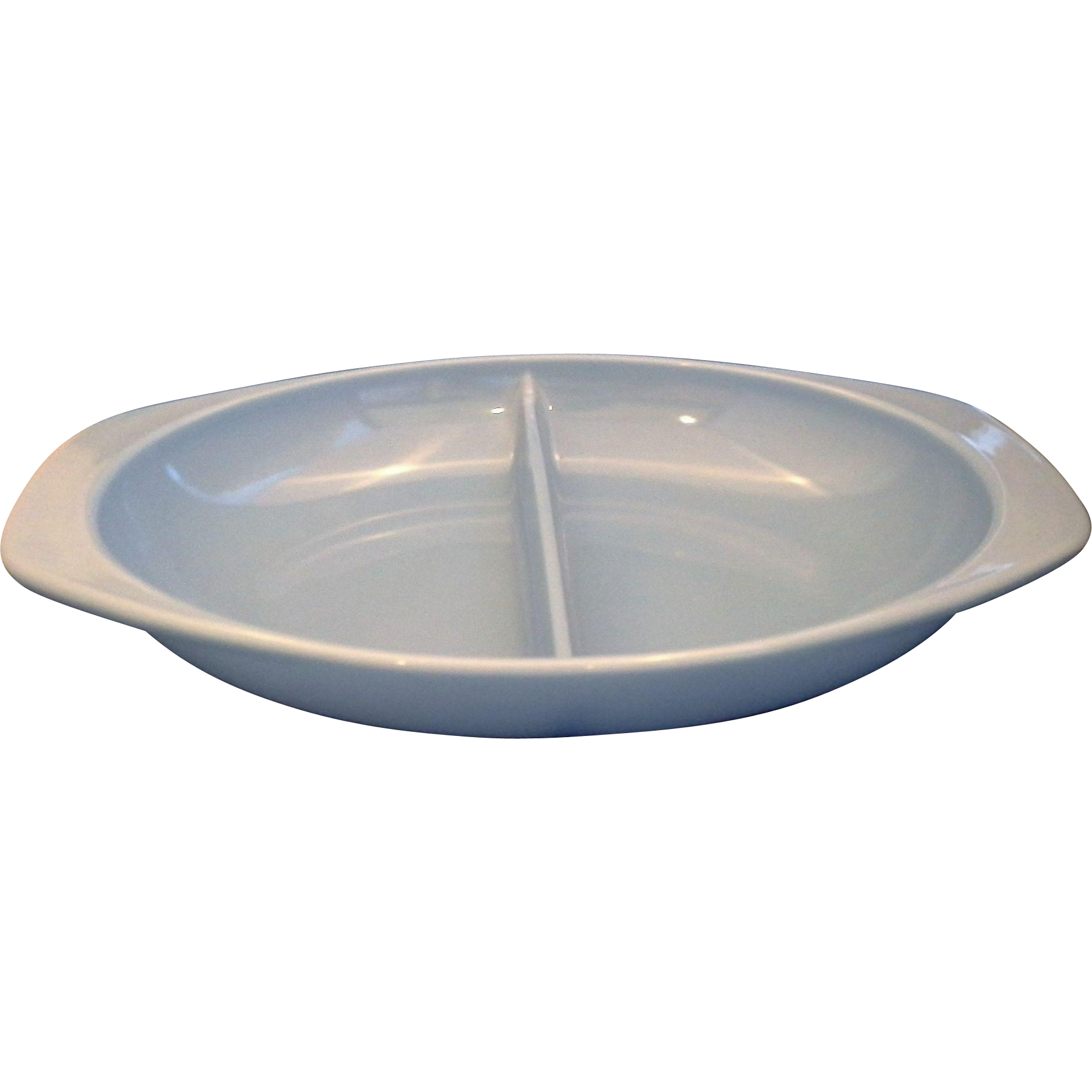 Pyrex Delphite Blue Divided Oval Vegetable Dish