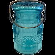 Avon Teal Blue 1977 Mason Style Jar Empty