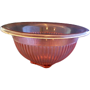 Federal Glass Pink Depression Ribbed Rolled Rim Mixing Bowl Rose Glow