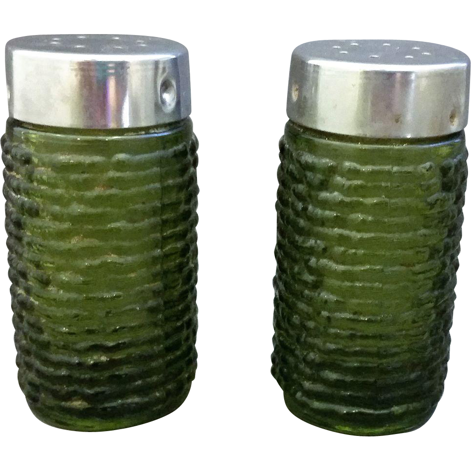 Soreno Avocado Green Salt Pepper Shakers Anchor Hocking