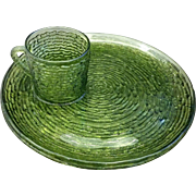 Anchor Hocking Soreno Avocado Green Snack Sets 4 Pc