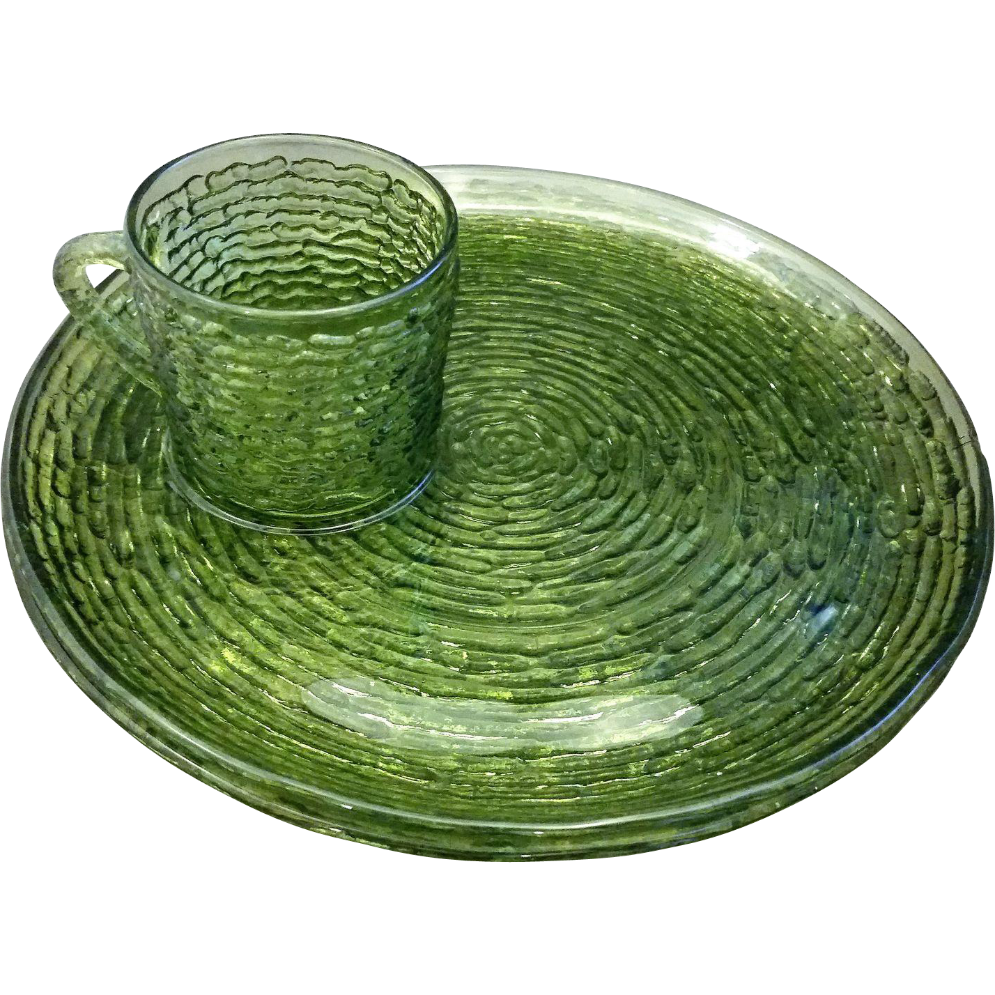 Anchor Hocking Soreno Avocado Green Snack Sets 4 Pc