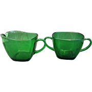 Forest Green Charm Cream Sugar Pair Anchor Hocking