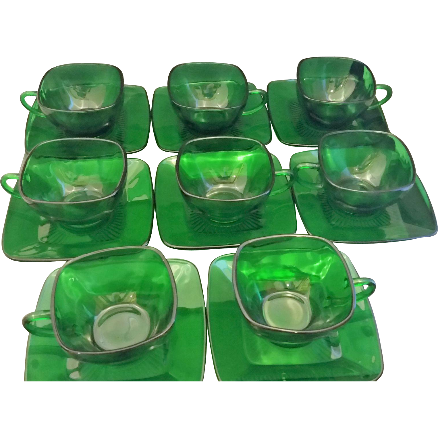Forest Green Charm 8 Cups 11 Saucers Anchor Hocking