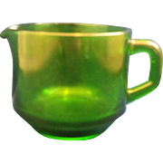 Emerald Green Glass Heavy Creamer