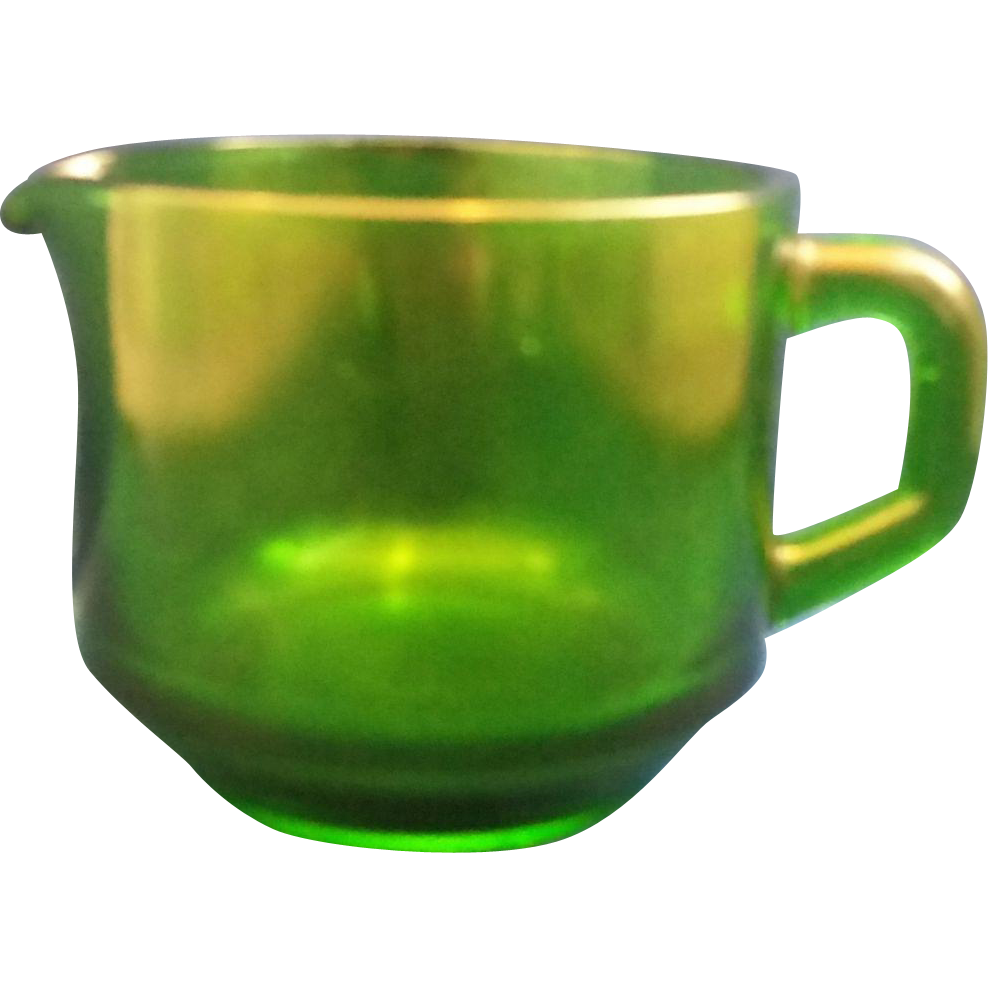 Emerald Green Glass Heavy Creamer