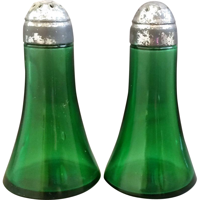 Emerald Green Salt Pepper Shakers Tapered Shape