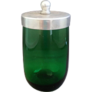 Forest Green Juice Aluminum Lid Tiny Jar Anchor Hocking