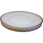 Golden Shell Milk Glass Swirl Dinner Plates Set of 4 Anchor Hocking - Red Tag Sale Item