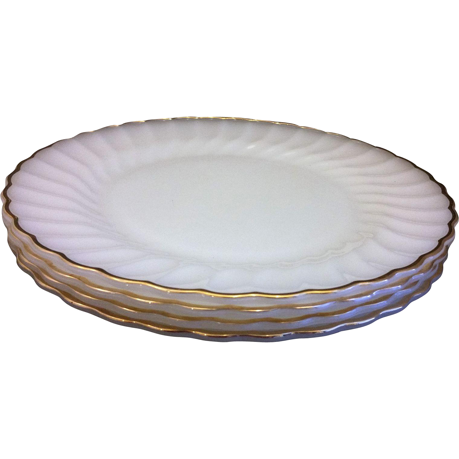 Golden Shell Milk Glass Swirl Dinner Plates Set of 4 Anchor Hocking