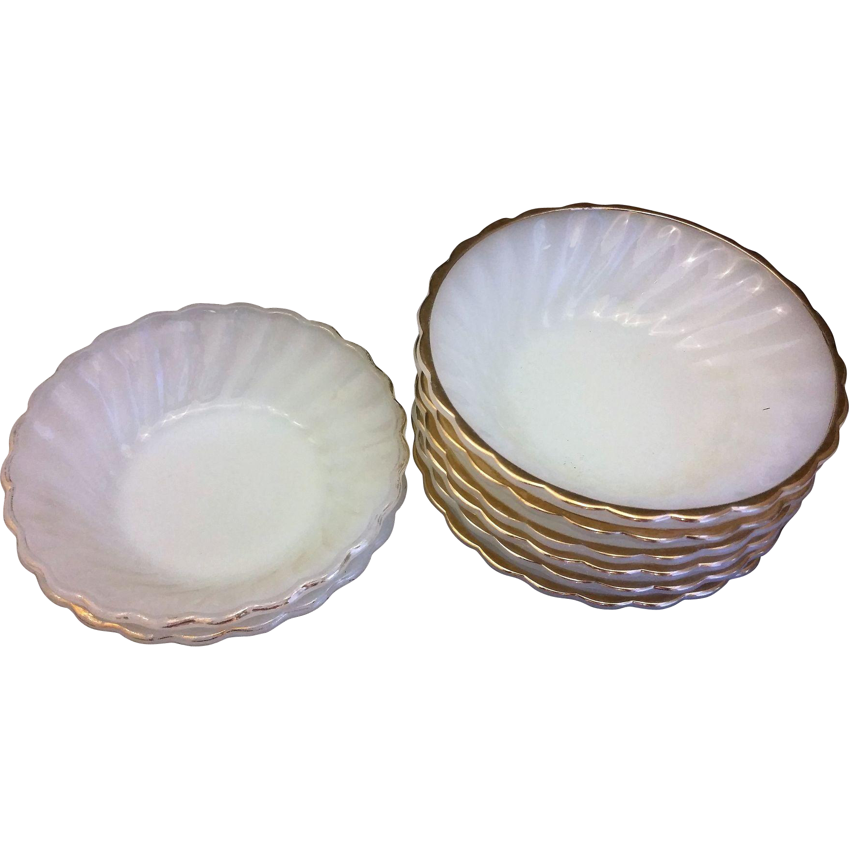 Golden Shell Milk Glass Anchor Hocking Fire King Dessert Bowls Set of 8