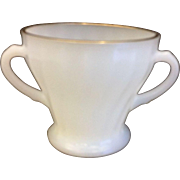 Golden Shell Milk Glass Anchor Hocking Fire King Open Sugar Bowl