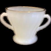 Golden Shell Milk Glass Anchor Hocking Fire King Open Sugar Bowl