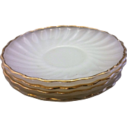 Golden Shell Milk Glass Anchor Hocking Fire King Saucers Set of 4