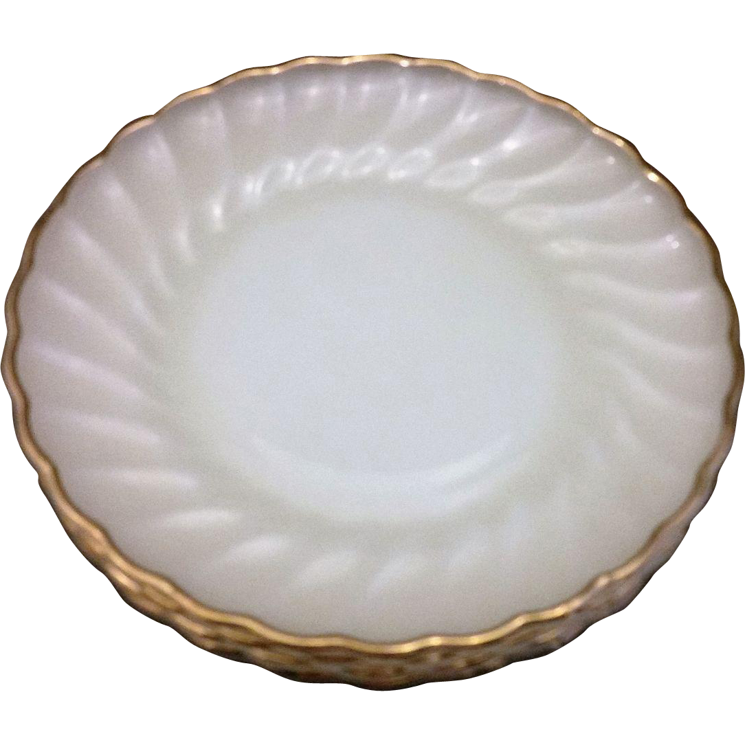 Golden Shell Milk Glass Anchor Hocking Fire King Salad Plates Set of 4