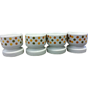 Polka Dot Earth Tones Ceramic Egg Cups Japan Set of 4