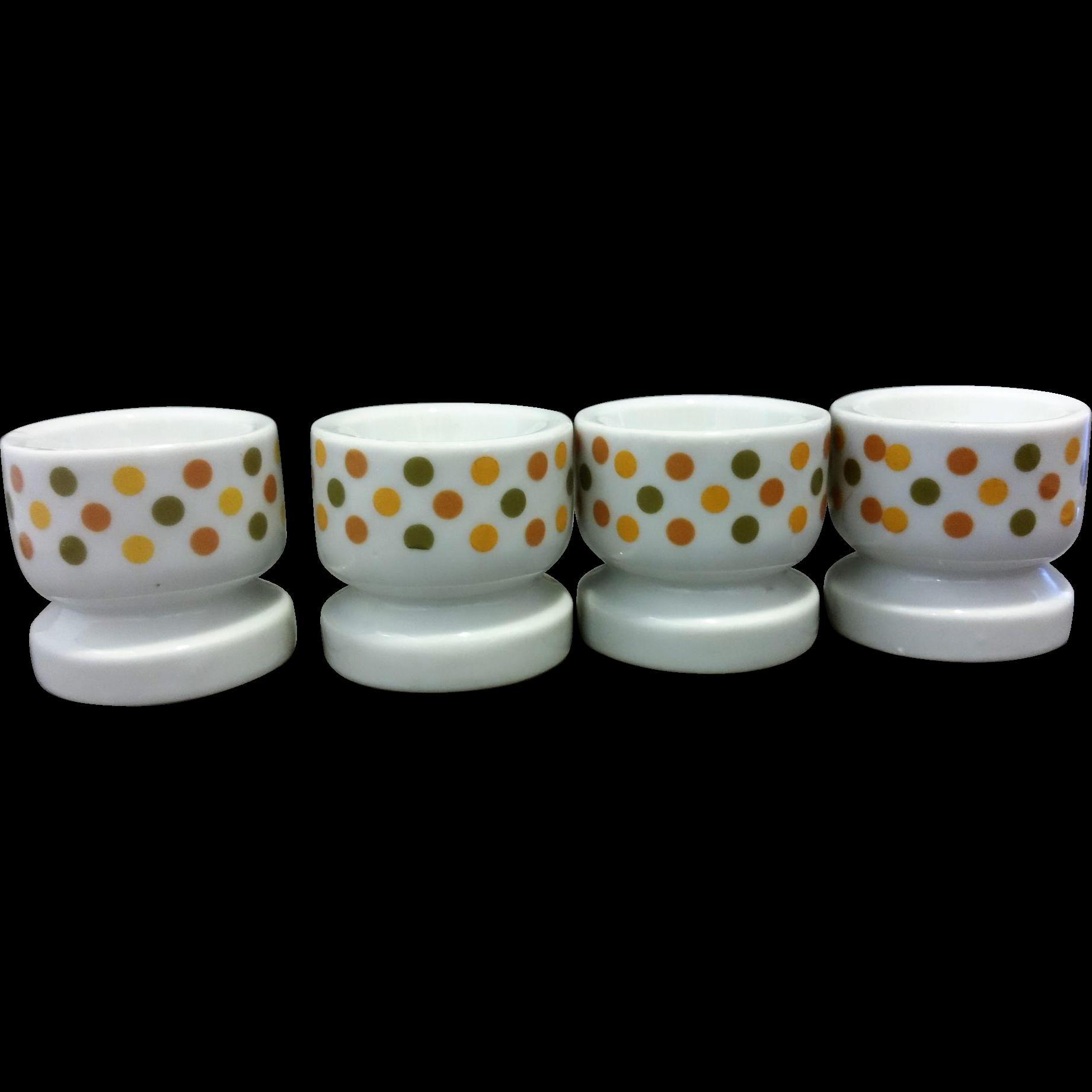 Polka Dot Earth Tones Ceramic Egg Cups Japan Set of 4
