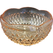 Indiana Glass Diamond Point Pink Bon Bon Bowl 3 Toed