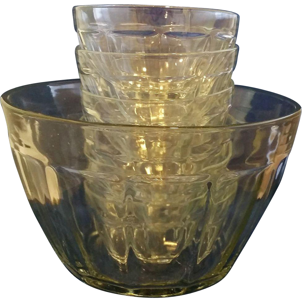 Clear Paneled Glass Salad Bowl Set 9 Pieces