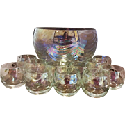 West Virginia Glass Iridescent Drape Loop Optic Punch Bowl Set