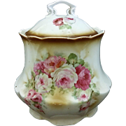 Germany Porcelain Biscuit Barrel Cracker Jar 1900 Transfer Roses