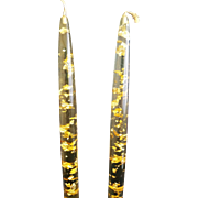 Clear Gold Lucite Candle Sticks Mid Century