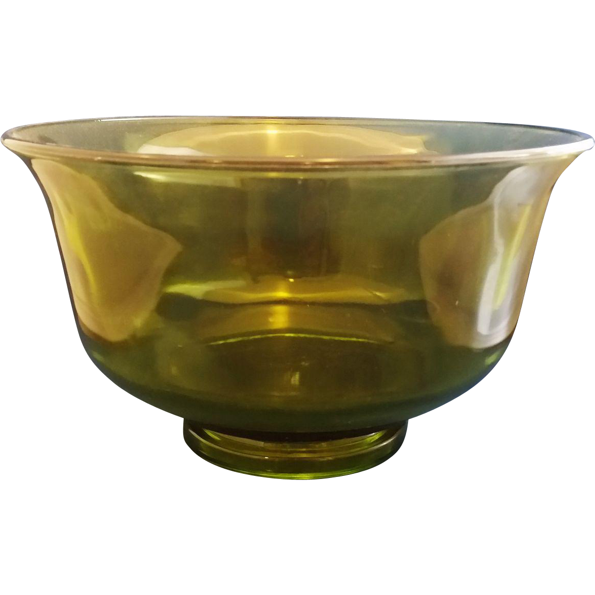 Olive Avocado Green Large Glass Open Round Serving Bowl