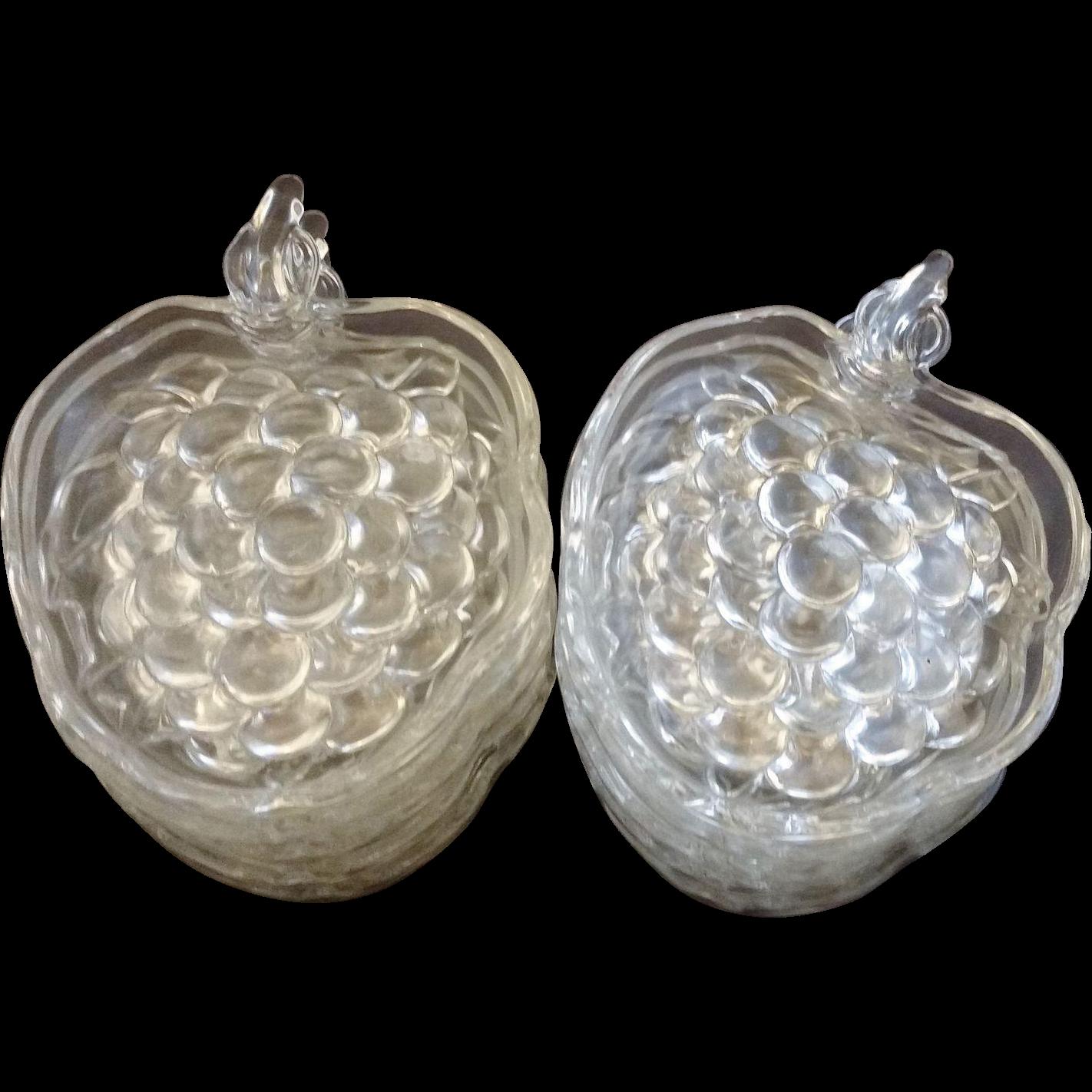 Clear Glass Grape Dish Bridge Nut Ashtray Set of 10