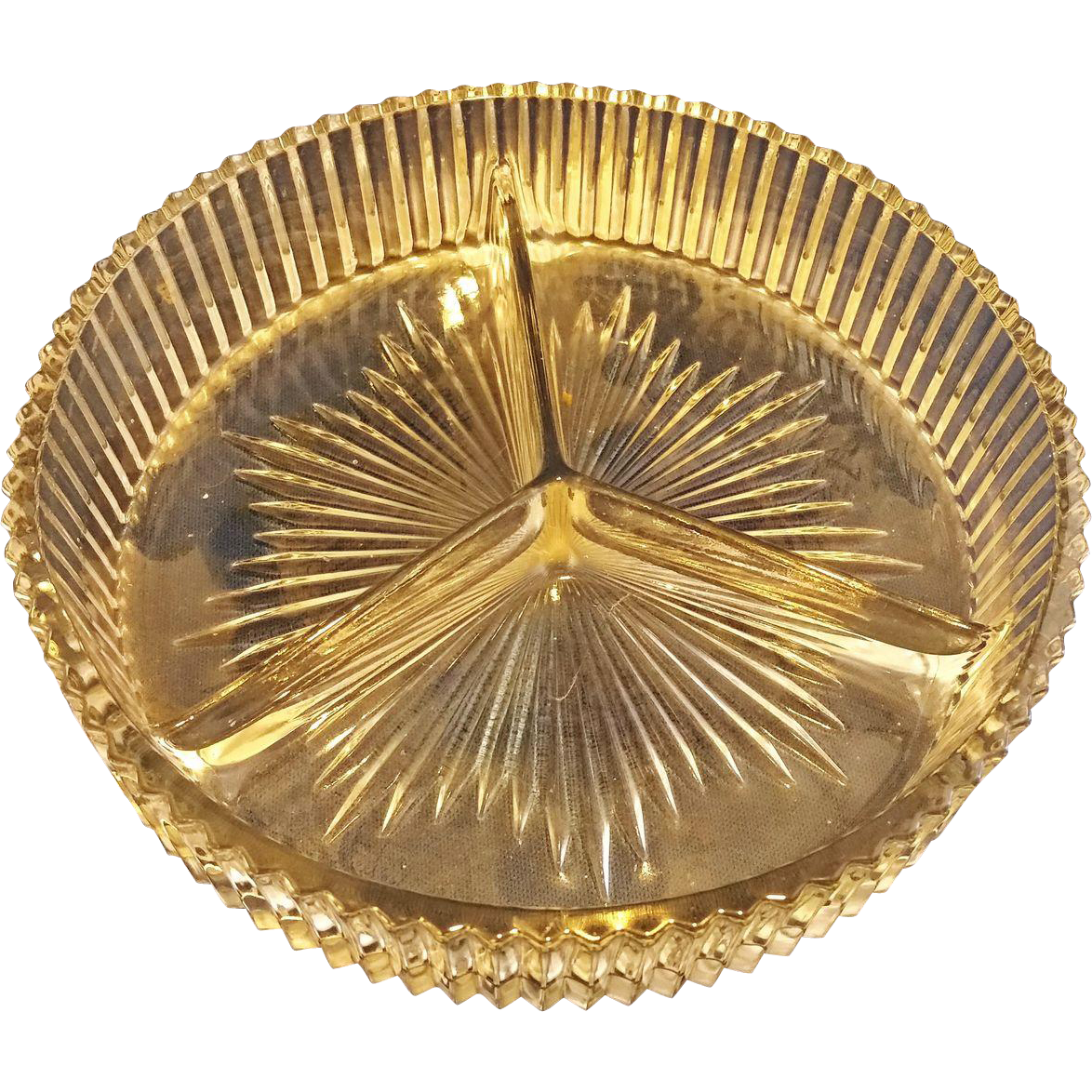 Ribbed Clear Glass Relish Divided 3 Part Dish
