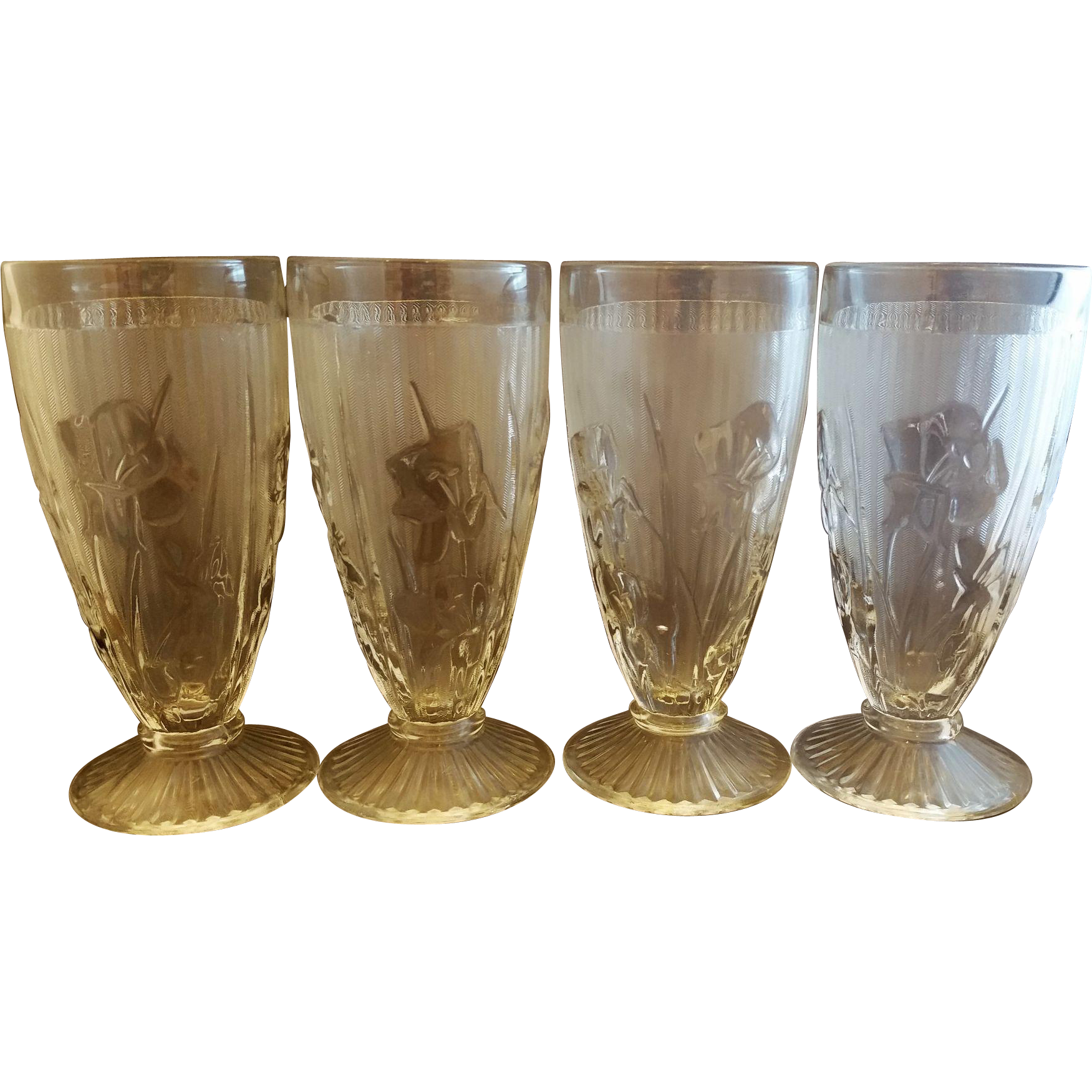 Jeannette Iris & Herringbone Clear 6 1/2 IN Footed Iced Tea Tumblers Set of 4