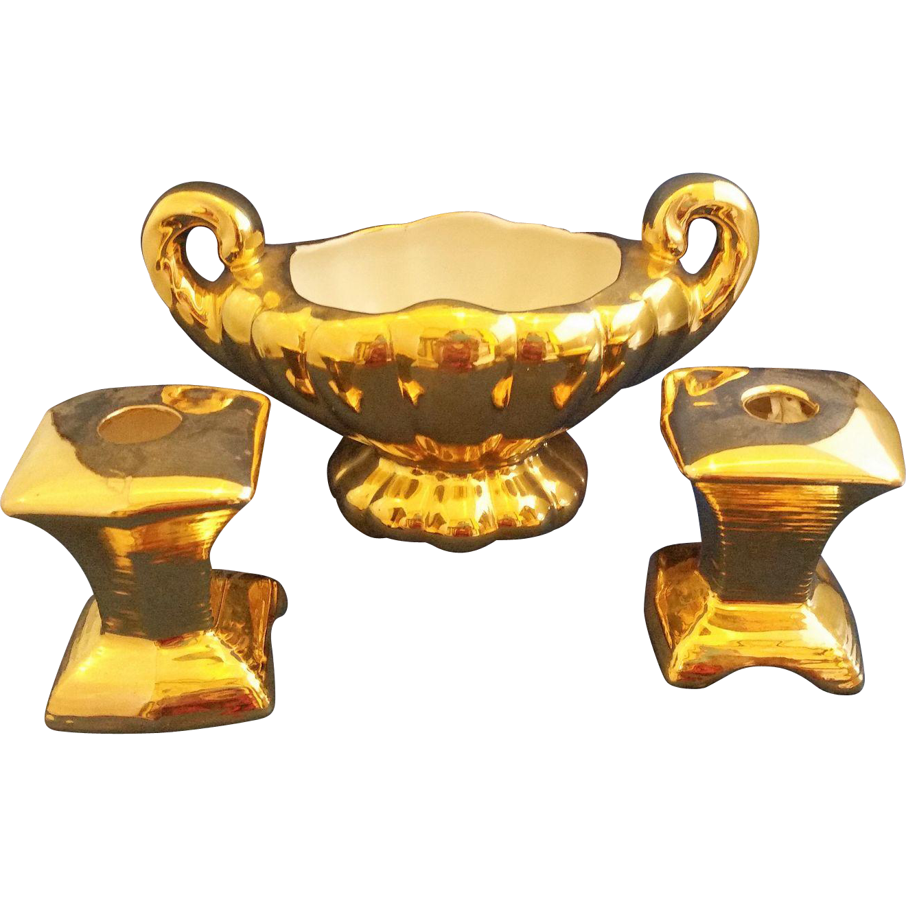 Gilded Gilt Gold Encrusted Console Set Oval Scalloped Bowl Square Candle Holders