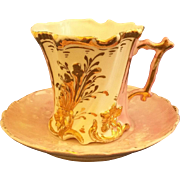 Pink Lustre Gilded Embossed Floral Cup Saucer C. 1900