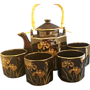 Black Gold Iris Design Porcelain Tea Set Made in Japan