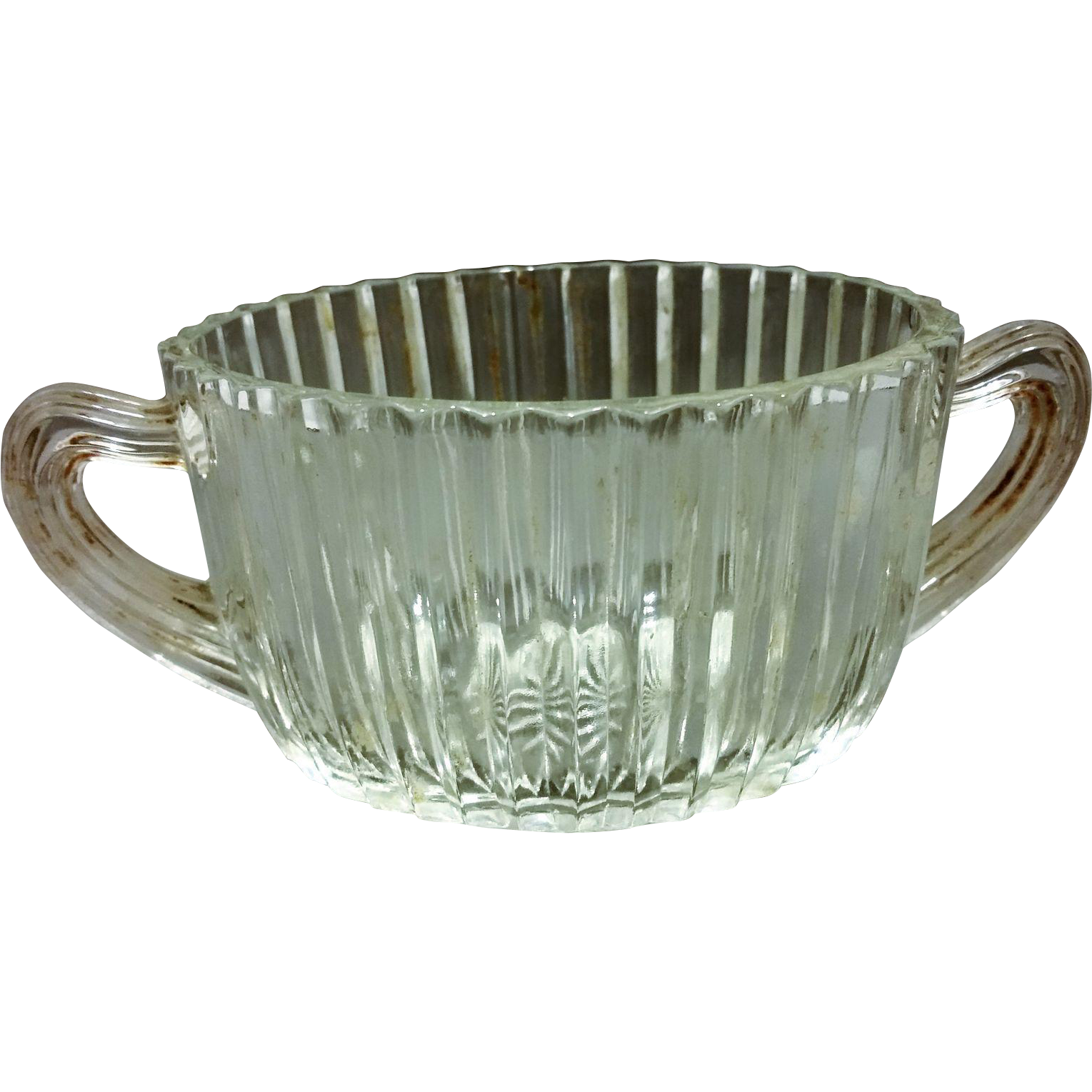 Queen Mary Prismatic Clear Depression Glass Hocking Oval Sugar