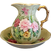 Lefton Hand Painted Roses Large Pitcher Basin Set