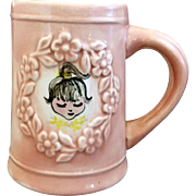 Pink Hand Painted Small Stein Mug Girl Face Embossed Flowers