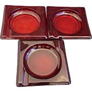 Fenton Lincoln Inn Ruby Red Ashtrays Set of 3