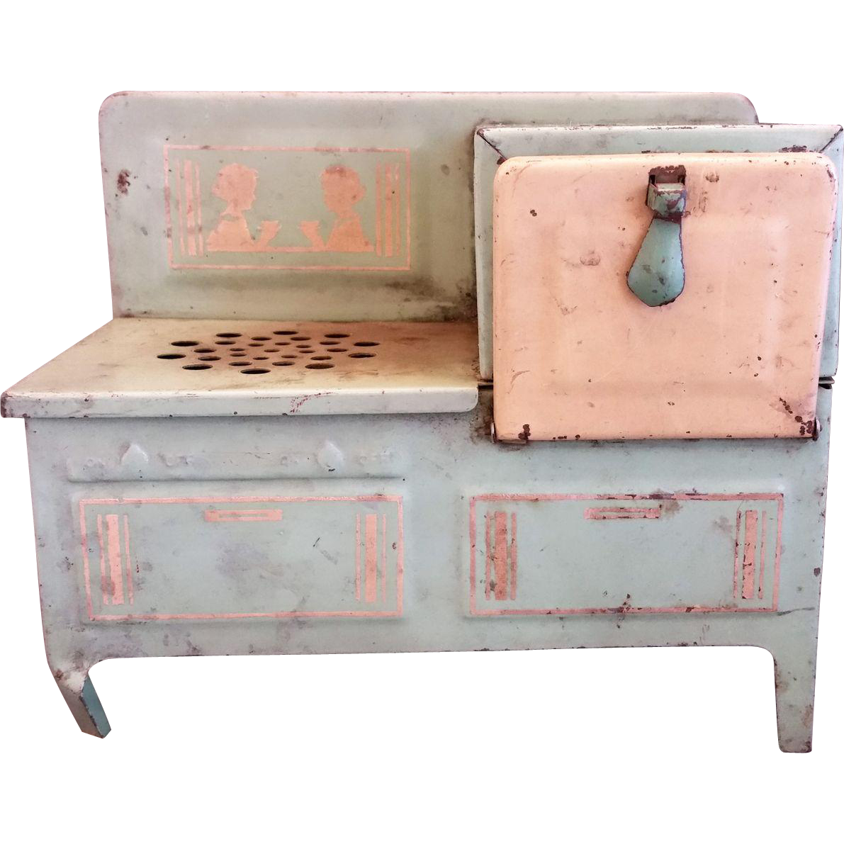 1930s Jadeite Green Metal Toy Doll Stove Electric Range