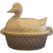 White Duck Soup Gravy Tureen Pottery Signed Japan