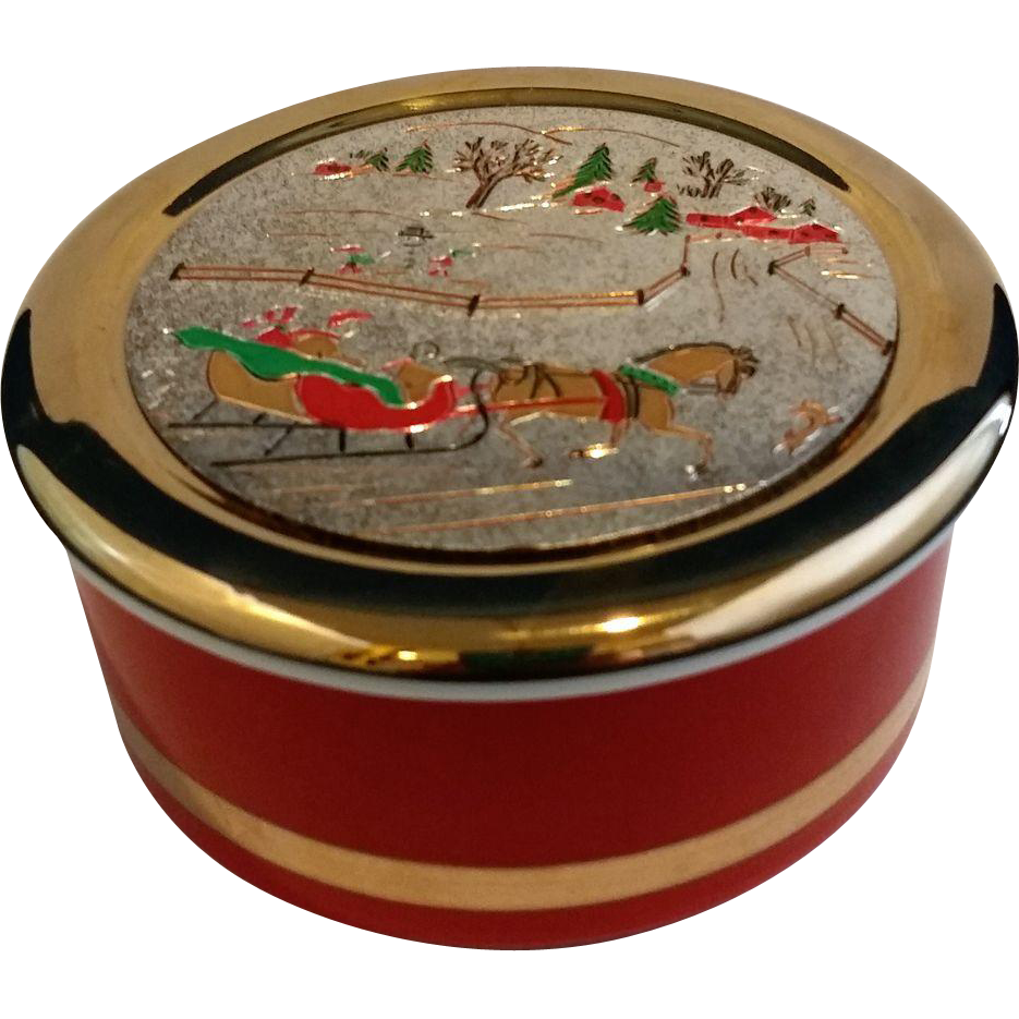 Himark Art of Chokin Christmas Winter Themed Trinket Box Sleigh Ride 24 KT Trim 1986