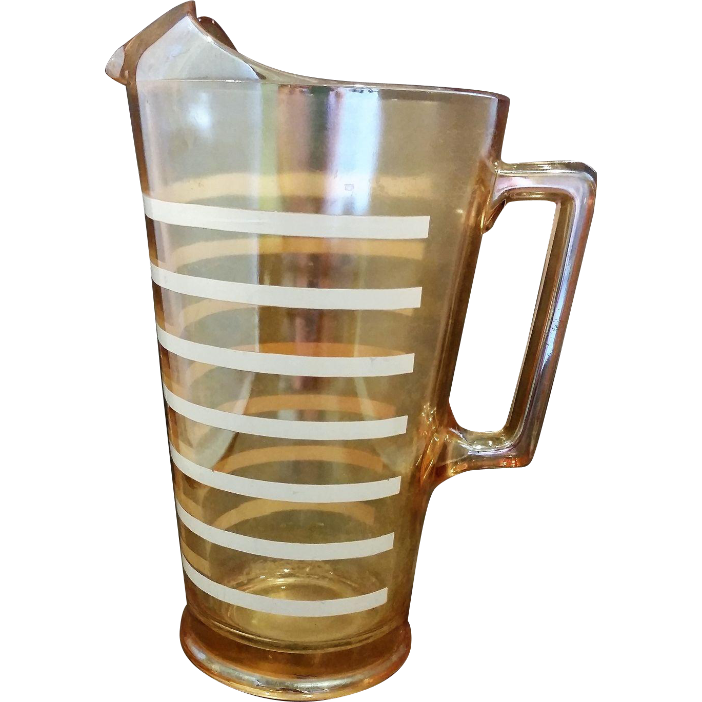 Jeannette Glass Marigold Iridescent Carnival Glass Pitcher White Stripes 48 Oz