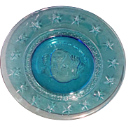 Wheaton Blue Glass President Van Buren Plate 8 IN 1970s