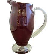 Deep Ruby Red Art Glass Blown Pitcher Clear Applied Handle Foot