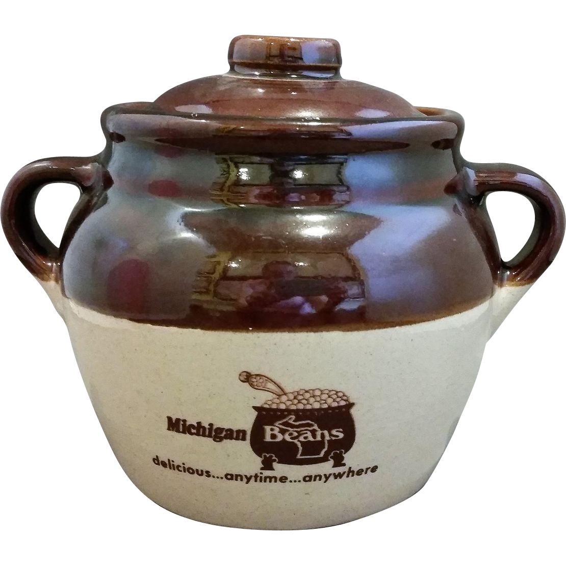 Michigan Beans Brown Glazed Bean Pot Monmouth Pottery Western Stoneware