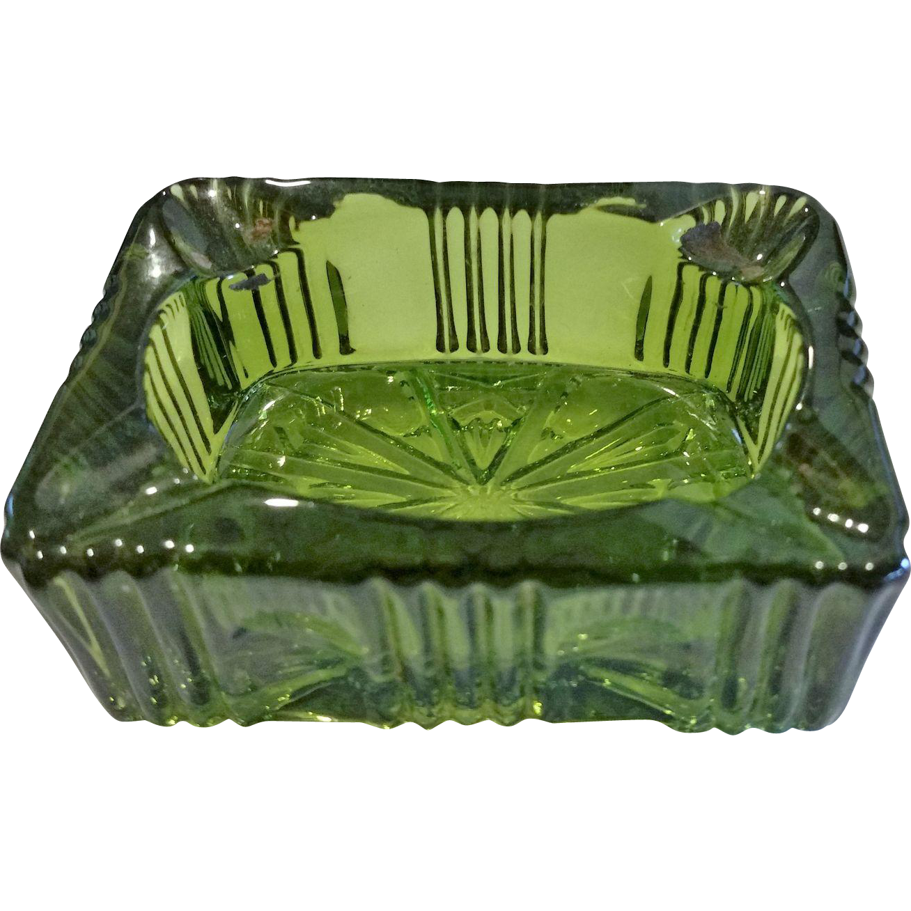 Olive Green Rectangle Pressed Glass Ashtray