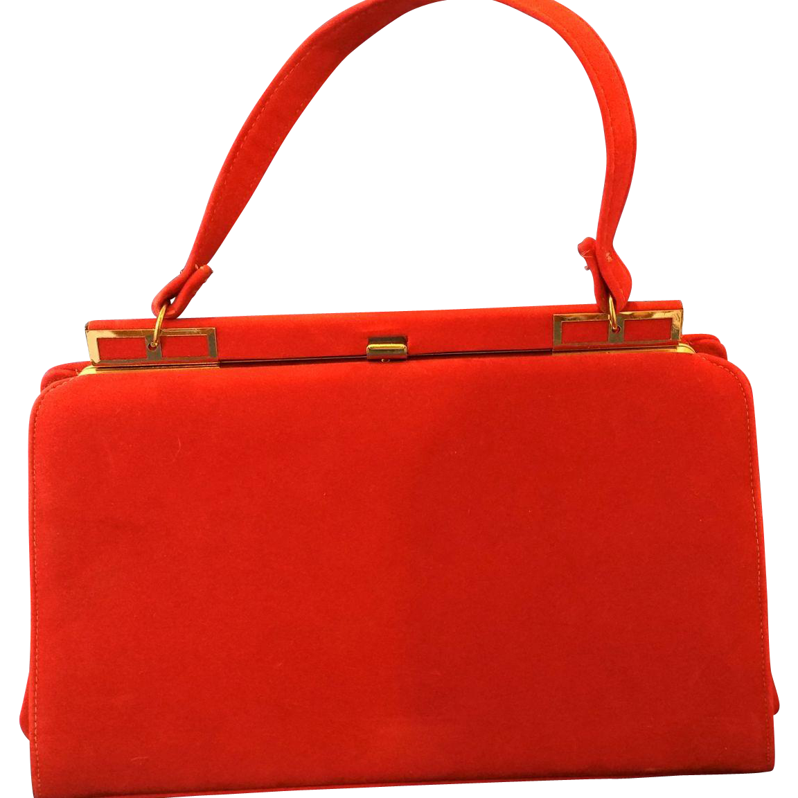 Red Large Trapezoid Handbag Sueded Finish Fabric