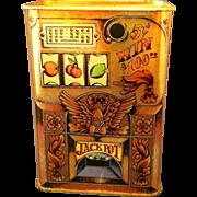 Hallmark Cards Slot Machine Tin Coin Bank 1970s