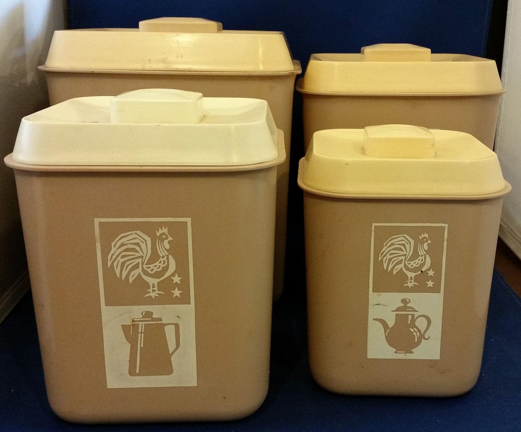 beige cream plastic kitchen canister set of 4 rooster