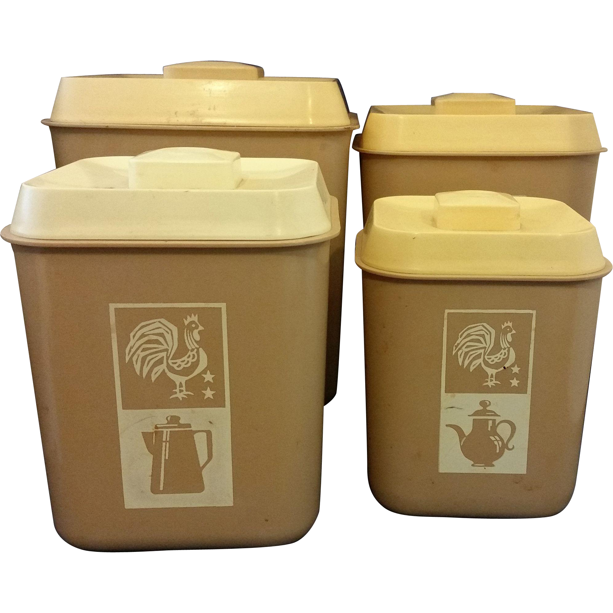 Beige cream plastic kitchen canister set of 4 rooster for Cream kitchen set