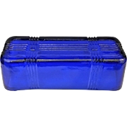 Hazel Atlas Cobalt Blue Criss Cross 1/4 Lb Butter Dish Lid Only - Red Tag Sale Item